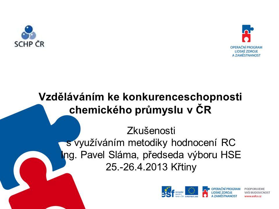 Vzděláváním ke konkurenceschopnosti chemického průmyslu v ČR Zkušenosti s využíváním metodiky hodnocení RC Ing.