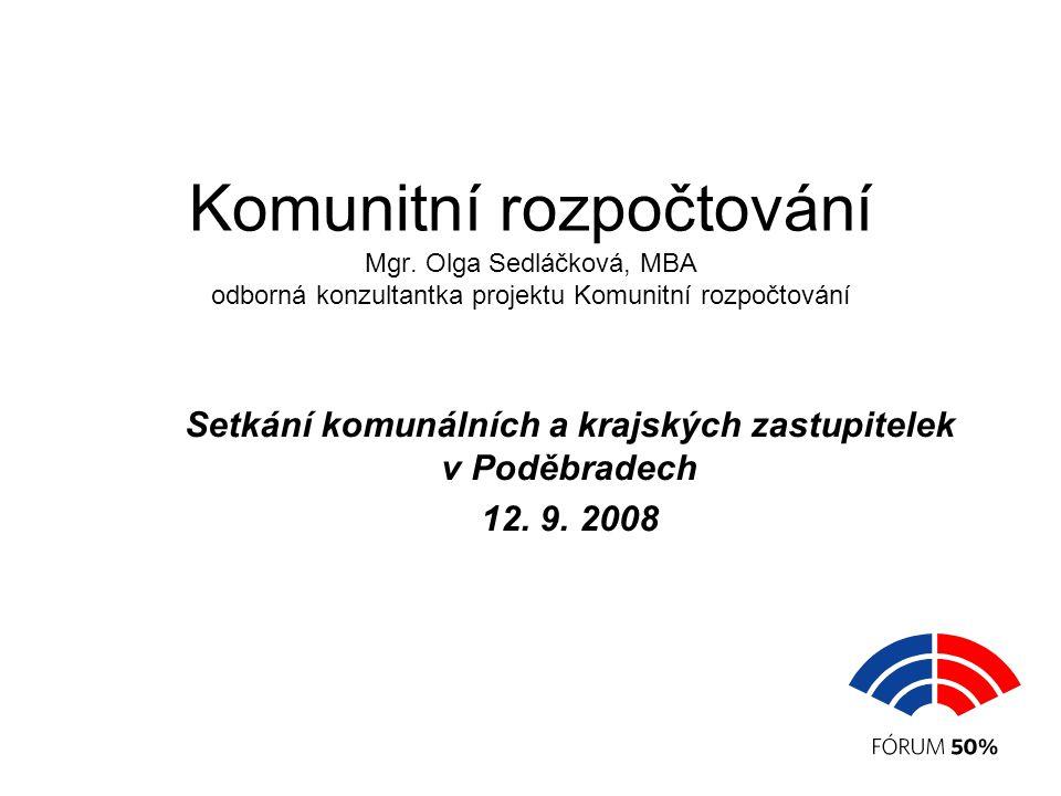Komunitní rozpočtování Mgr. Olga Sedláčková, MBA odborná konzultantka projektu Komunitní rozpočtování Setkání komunálních a krajských zastupitelek v P