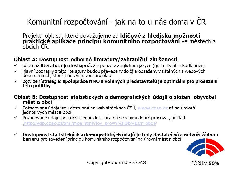 Copyright Forum 50% a OAS7 Komunitní rozpočtování - jak na to u nás doma v ČR Projekt: oblasti, které považujeme za klíčové z hlediska možnosti prakti