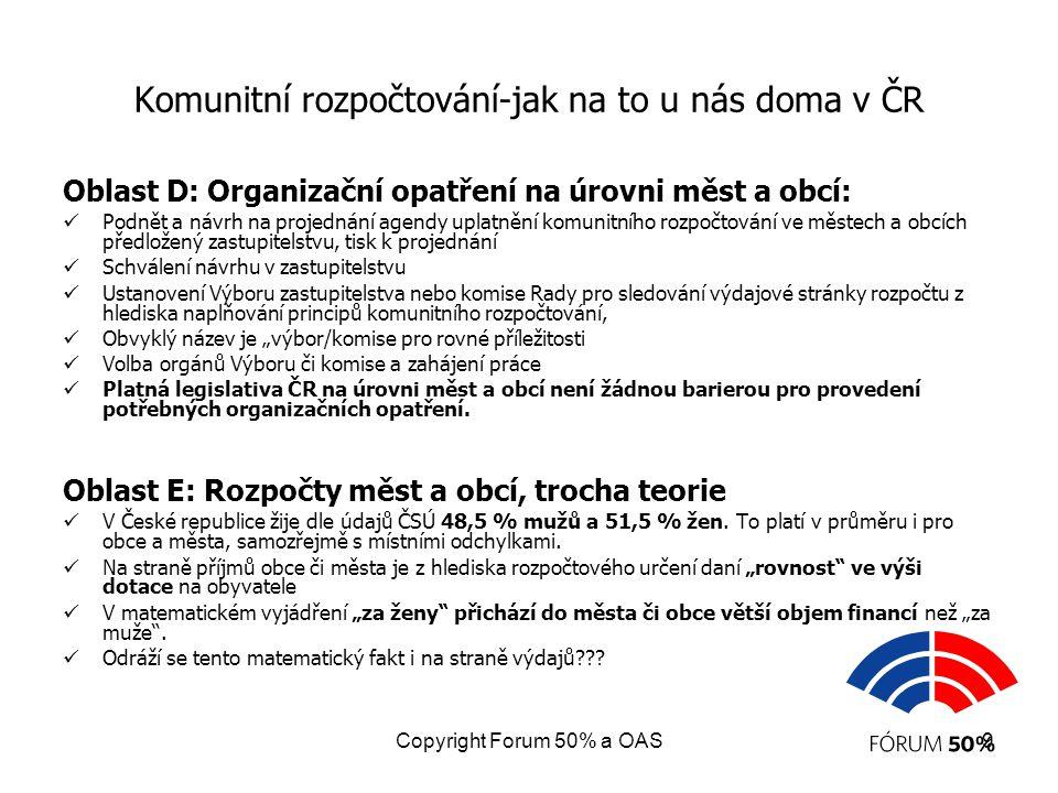 Copyright Forum 50% a OAS10 Komunitní rozpočtování - jak na to u nás doma v ČR Analýza reálných rozpočtů měst a obcí, metodika: Proběhla analýza struktury výdajů 13ti reálných rozpočtů měst a obcí ČR různých velikostních kategorií z různých krajů.