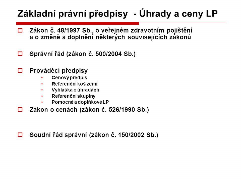 Základní právní předpisy - Úhrady a ceny LP  Zákon č. 48/1997 Sb., o veřejném zdravotním pojištění a o změně a doplnění některých souvisejících zákon