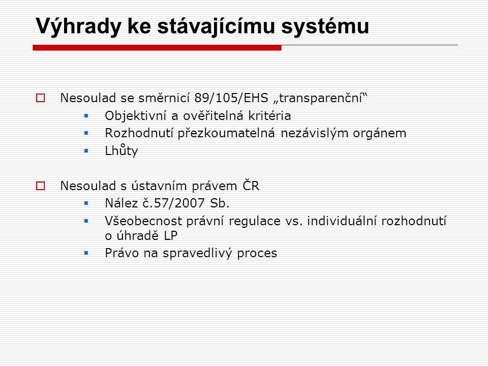 """Výhrady ke stávajícímu systému  Nesoulad se směrnicí 89/105/EHS """"transparenční""""  Objektivní a ověřitelná kritéria  Rozhodnutí přezkoumatelná nezávi"""