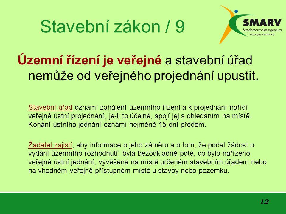 12 Stavební zákon / 9 Územní řízení je veřejné a stavební úřad nemůže od veřejného projednání upustit.