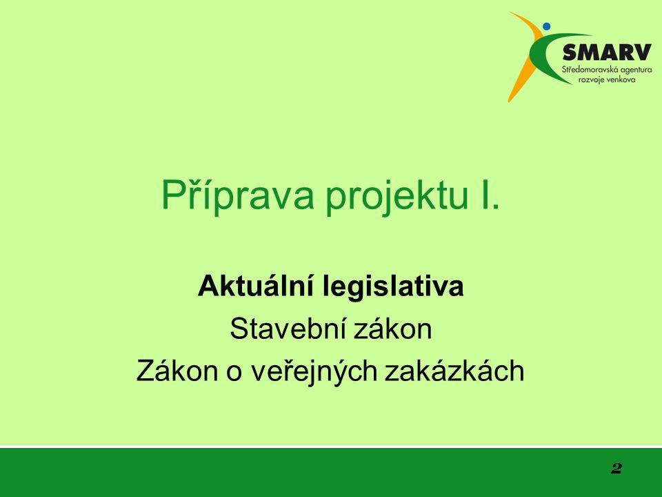 2 Příprava projektu I. Aktuální legislativa Stavební zákon Zákon o veřejných zakázkách