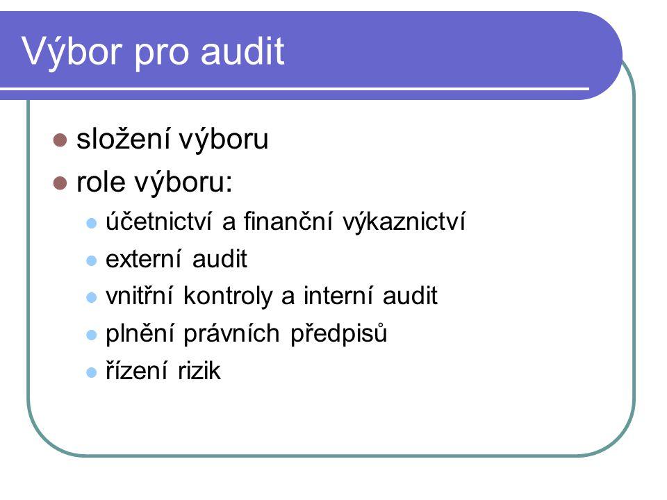 Výbor pro audit složení výboru role výboru: účetnictví a finanční výkaznictví externí audit vnitřní kontroly a interní audit plnění právních předpisů