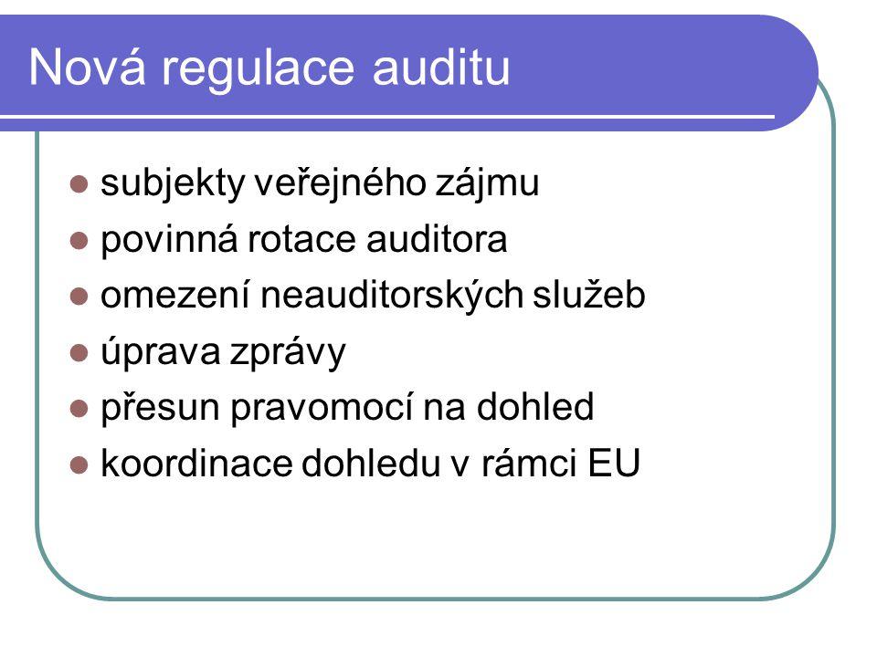 Nová regulace auditu subjekty veřejného zájmu povinná rotace auditora omezení neauditorských služeb úprava zprávy přesun pravomocí na dohled koordinac