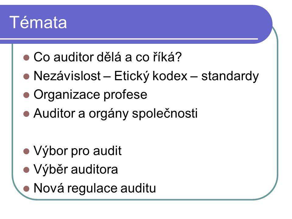Témata Co auditor dělá a co říká? Nezávislost – Etický kodex – standardy Organizace profese Auditor a orgány společnosti Výbor pro audit Výběr auditor
