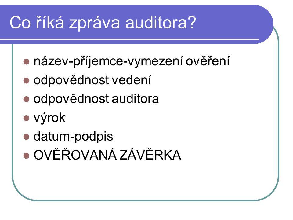 Co říká zpráva auditora? název-příjemce-vymezení ověření odpovědnost vedení odpovědnost auditora výrok datum-podpis OVĚŘOVANÁ ZÁVĚRKA