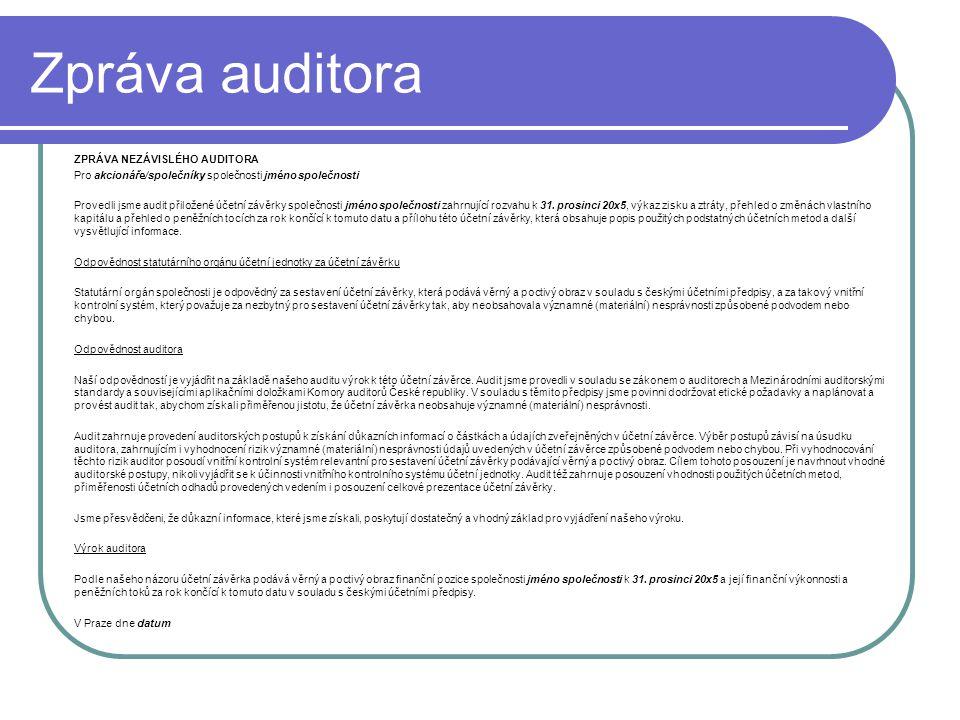 Zpráva auditora ZPRÁVA NEZÁVISLÉHO AUDITORA Pro akcionáře/společníky společnosti jméno společnosti Provedli jsme audit přiložené účetní závěrky společ