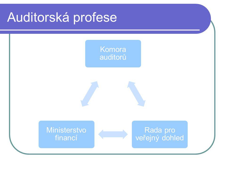 Auditorská profese Komora auditorů Rada pro veřejný dohled Ministerstvo financí