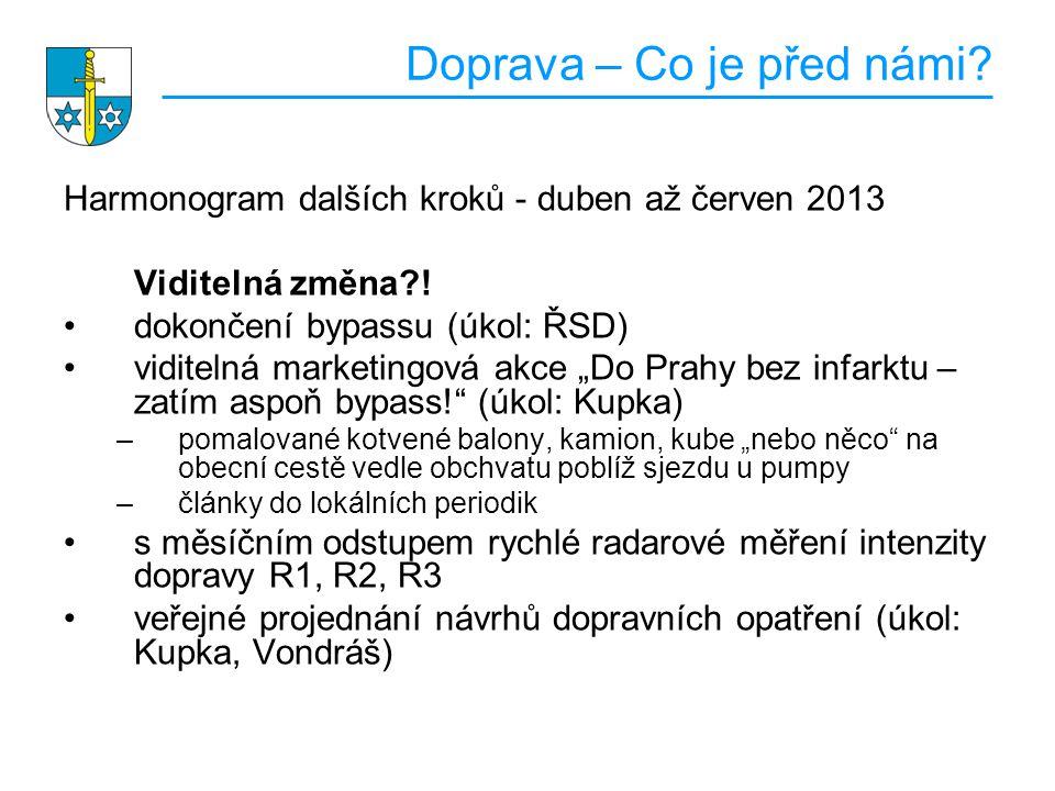 Doprava – Co je před námi.Harmonogram dalších kroků - duben až červen 2013 Viditelná změna?.