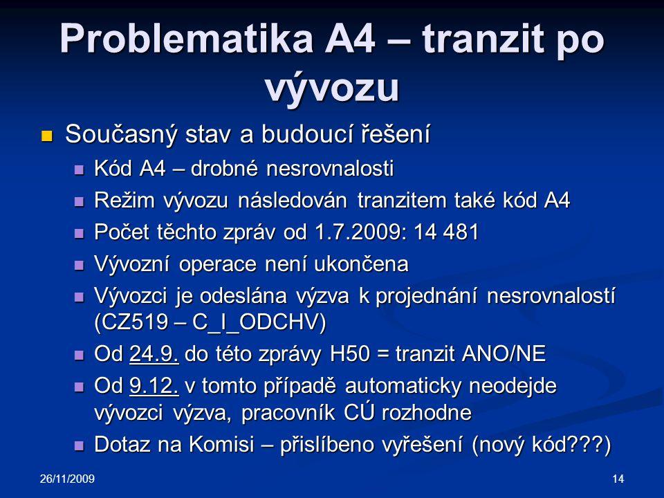 Problematika A4 – tranzit po vývozu Současný stav a budoucí řešení Současný stav a budoucí řešení Kód A4 – drobné nesrovnalosti Kód A4 – drobné nesrovnalosti Režim vývozu následován tranzitem také kód A4 Režim vývozu následován tranzitem také kód A4 Počet těchto zpráv od 1.7.2009: 14 481 Počet těchto zpráv od 1.7.2009: 14 481 Vývozní operace není ukončena Vývozní operace není ukončena Vývozci je odeslána výzva k projednání nesrovnalostí (CZ519 – C_I_ODCHV) Vývozci je odeslána výzva k projednání nesrovnalostí (CZ519 – C_I_ODCHV) Od 24.9.