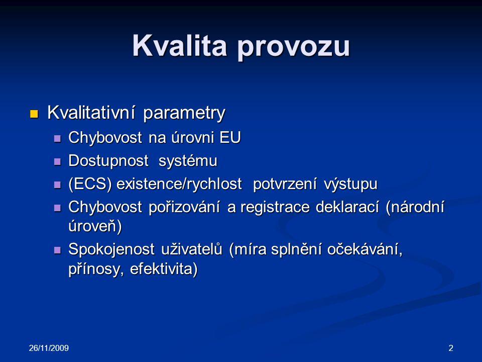 Kvalita provozu Kvalitativní parametry Kvalitativní parametry Chybovost na úrovni EU Chybovost na úrovni EU Dostupnost systému Dostupnost systému (ECS