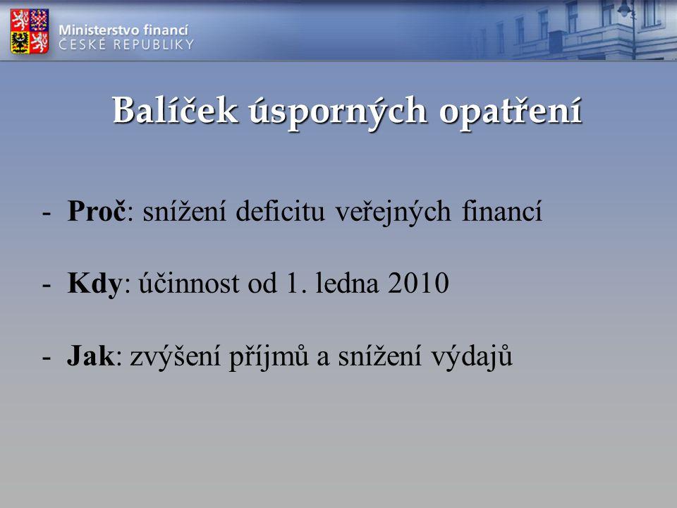 Balíček úsporných opatření -Proč: snížení deficitu veřejných financí -Kdy: účinnost od 1.