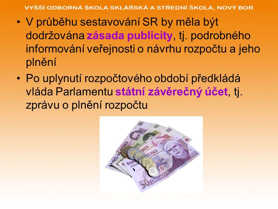 V průběhu sestavování SR by měla být dodržována zásada publicity, tj.