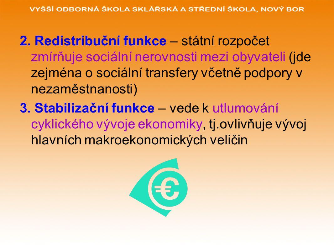 2. Redistribuční funkce – státní rozpočet zmírňuje sociální nerovnosti mezi obyvateli (jde zejména o sociální transfery včetně podpory v nezaměstnanos