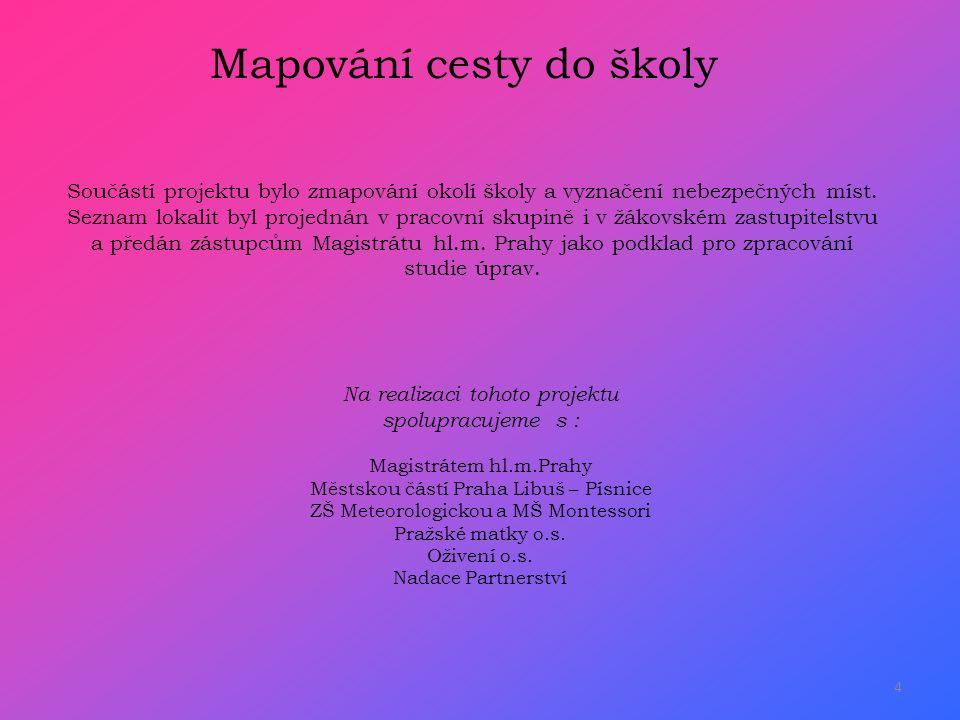 4 Na realizaci tohoto projektu spolupracujeme s : Magistrátem hl.m.Prahy Městskou částí Praha Libuš – Písnice ZŠ Meteorologickou a MŠ Montessori Pražské matky o.s.