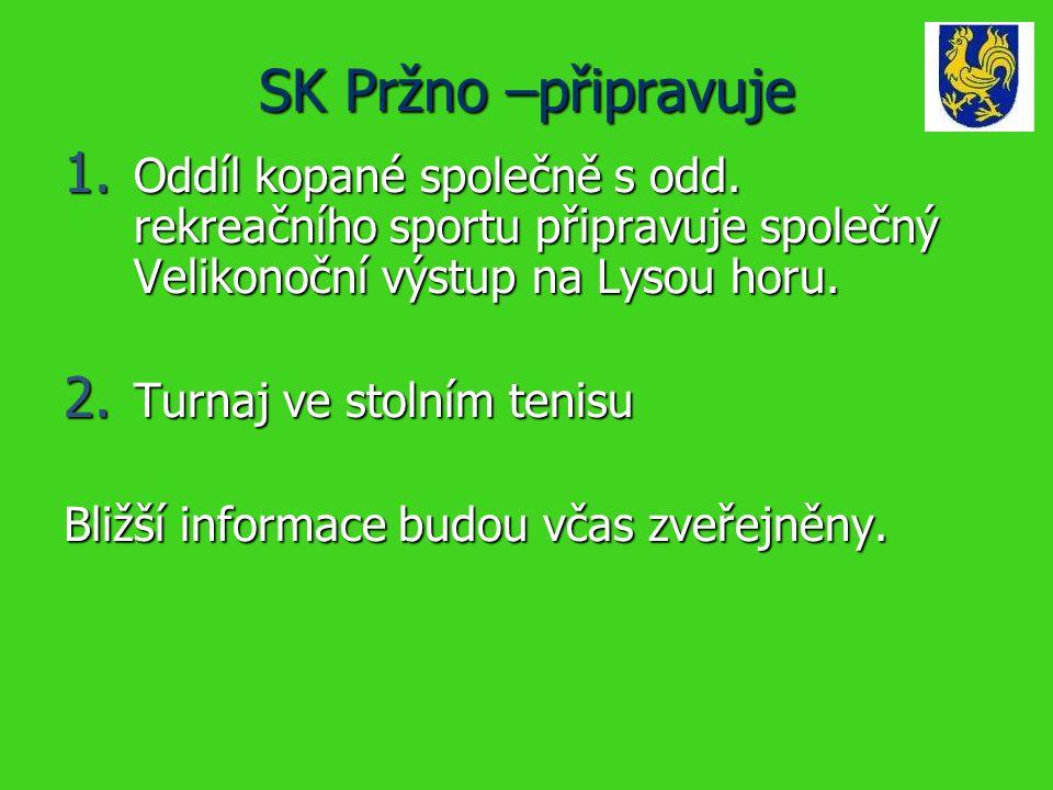 SK Pržno –připravuje 1. Oddíl kopané společně s odd.