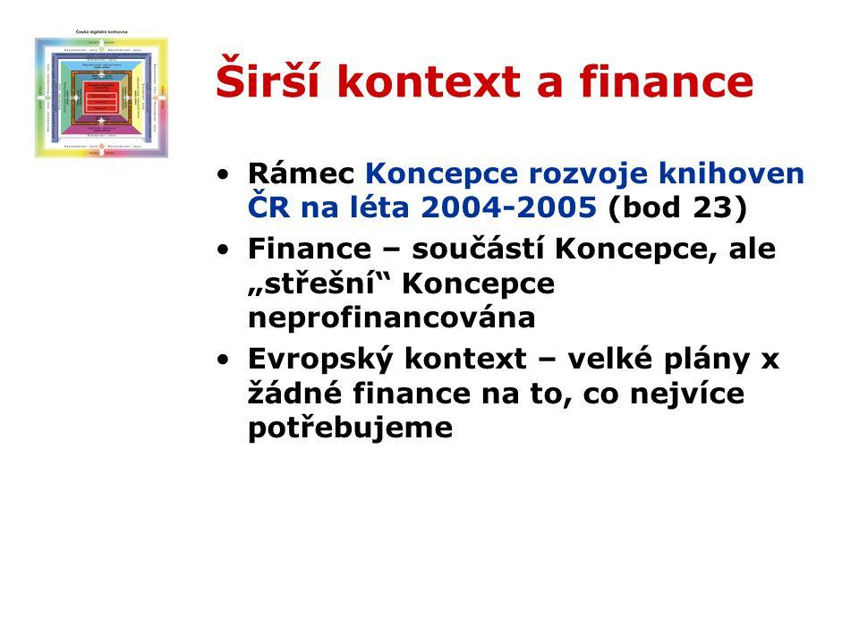 """Širší kontext a finance Rámec Koncepce rozvoje knihoven ČR na léta 2004-2005 (bod 23) Finance – součástí Koncepce, ale """"střešní Koncepce neprofinancována Evropský kontext – velké plány x žádné finance na to, co nejvíce potřebujeme"""