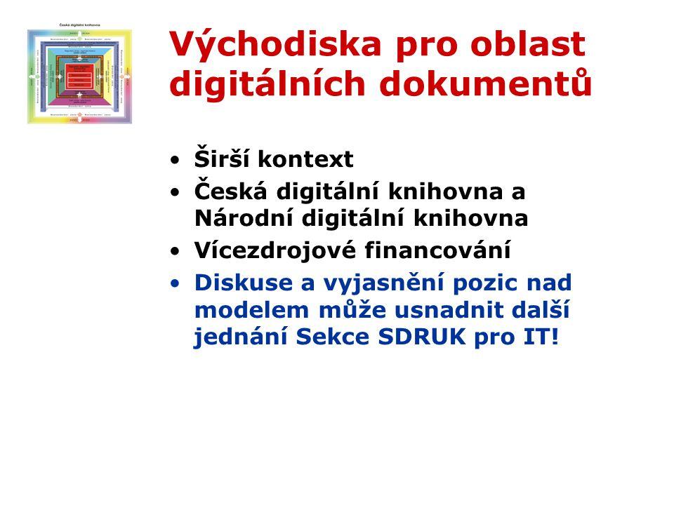 Východiska pro oblast digitálních dokumentů Širší kontext Česká digitální knihovna a Národní digitální knihovna Vícezdrojové financování Diskuse a vyjasnění pozic nad modelem může usnadnit další jednání Sekce SDRUK pro IT!