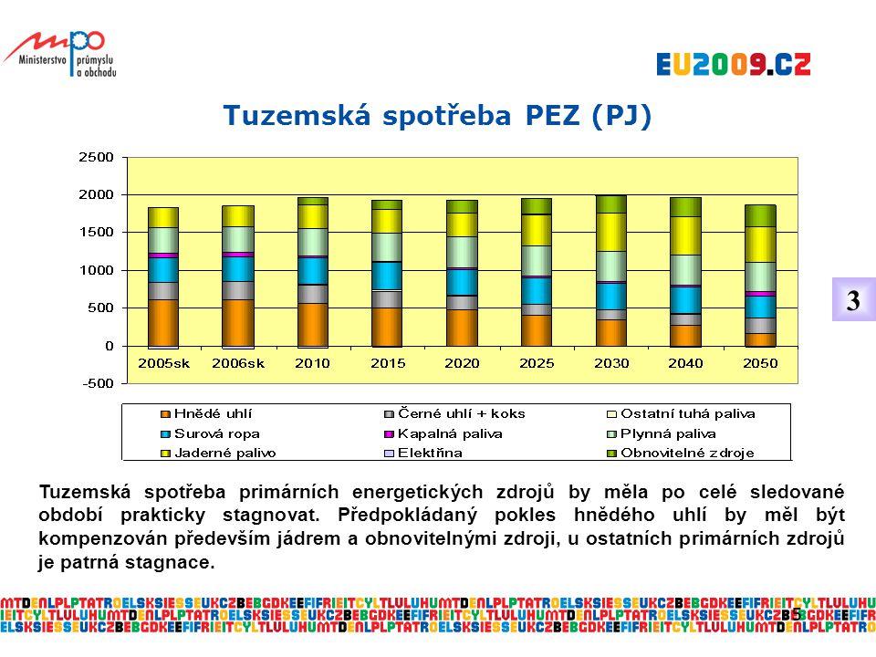5 Tuzemská spotřeba PEZ (PJ) Tuzemská spotřeba primárních energetických zdrojů by měla po celé sledované období prakticky stagnovat.