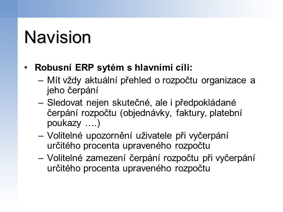 Navision Robusní ERP sytém s hlavními cíli: –Mít vždy aktuální přehled o rozpočtu organizace a jeho čerpání –Sledovat nejen skutečné, ale i předpoklád