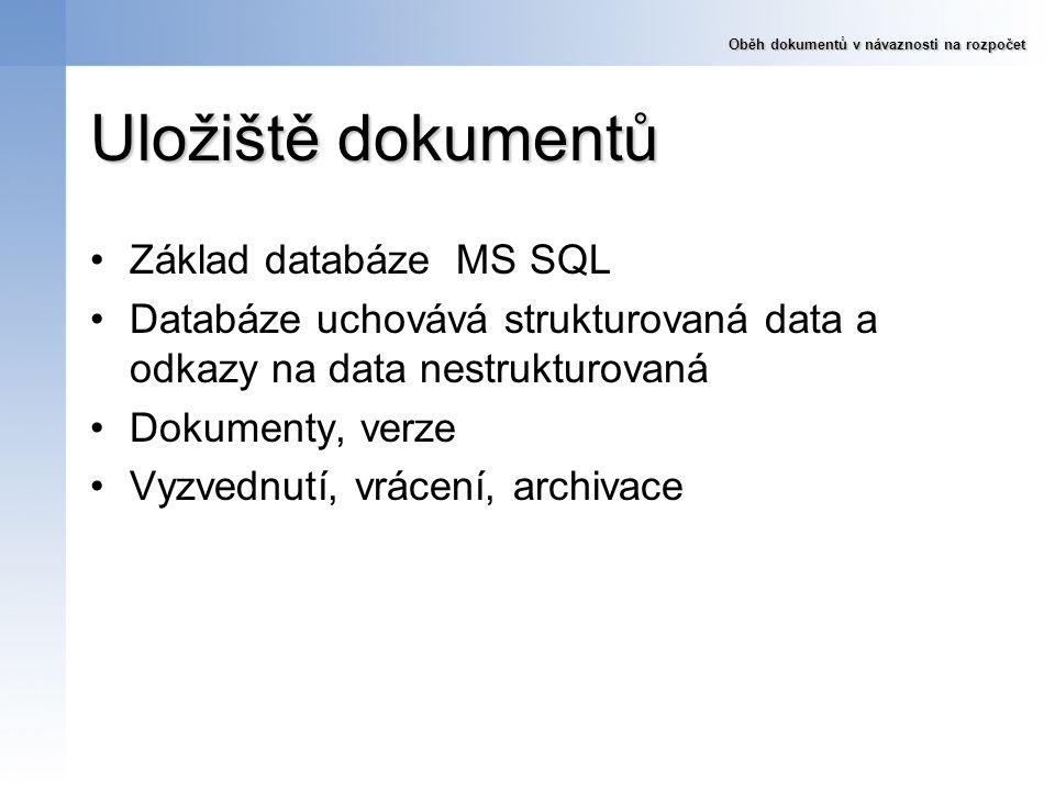 Uložiště dokumentů Základ databáze MS SQL Databáze uchovává strukturovaná data a odkazy na data nestrukturovaná Dokumenty, verze Vyzvednutí, vrácení,