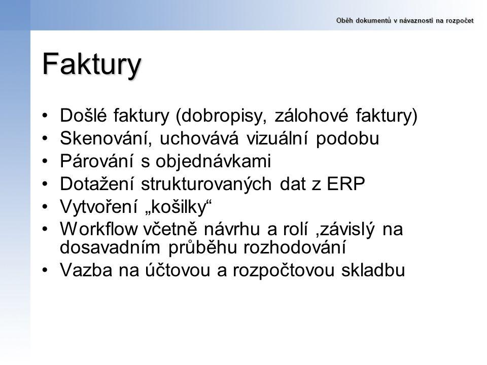 Faktury Došlé faktury (dobropisy, zálohové faktury) Skenování, uchovává vizuální podobu Párování s objednávkami Dotažení strukturovaných dat z ERP Vyt