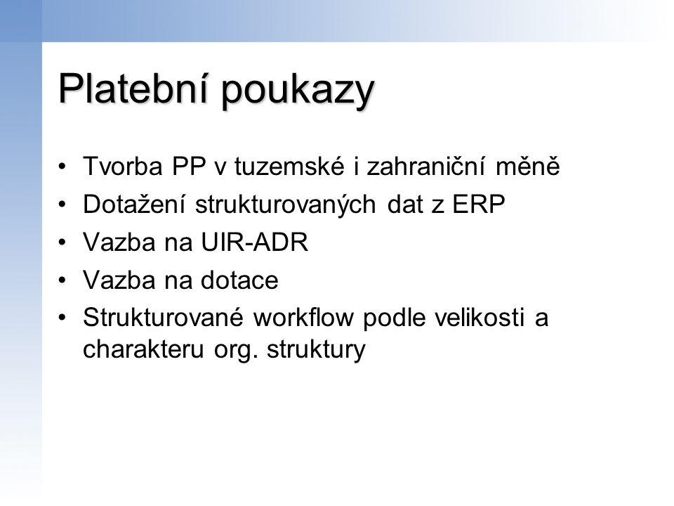 Platební poukazy Tvorba PP v tuzemské i zahraniční měně Dotažení strukturovaných dat z ERP Vazba na UIR-ADR Vazba na dotace Strukturované workflow pod