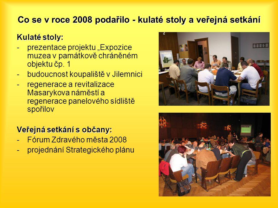 """Co se v roce 2008 podařilo - kulaté stoly a veřejná setkání Kulaté stoly: -prezentace projektu """"Expozice muzea v památkově chráněném objektu čp."""