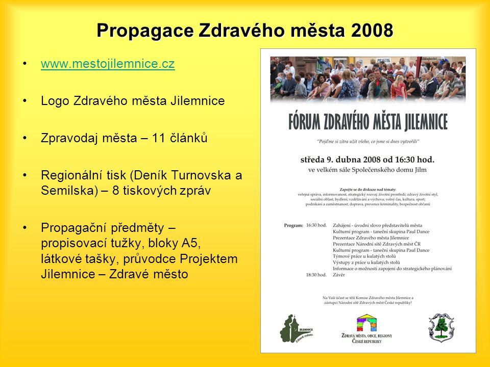 Propagace Zdravého města 2008 www.mestojilemnice.cz Logo Zdravého města Jilemnice Zpravodaj města – 11 článků Regionální tisk (Deník Turnovska a Semil