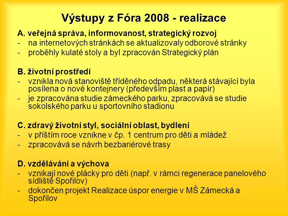 Výstupy z Fóra 2008 - realizace A. veřejná správa, informovanost, strategický rozvoj -na internetových stránkách se aktualizovaly odborové stránky -pr