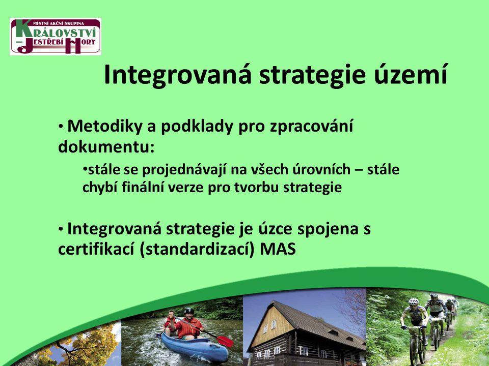 Integrovaná strategie území Metodiky a podklady pro zpracování dokumentu: stále se projednávají na všech úrovních – stále chybí finální verze pro tvorbu strategie Integrovaná strategie je úzce spojena s certifikací (standardizací) MAS