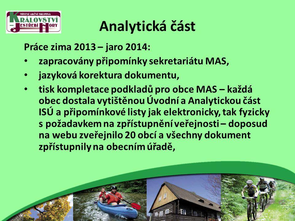 Analytická část Práce zima 2013 – jaro 2014: zapracovány připomínky sekretariátu MAS, jazyková korektura dokumentu, tisk kompletace podkladů pro obce MAS – každá obec dostala vytištěnou Úvodní a Analytickou část ISÚ a připomínkové listy jak elektronicky, tak fyzicky s požadavkem na zpřístupnění veřejnosti – doposud na webu zveřejnilo 20 obcí a všechny dokument zpřístupnily na obecním úřadě,