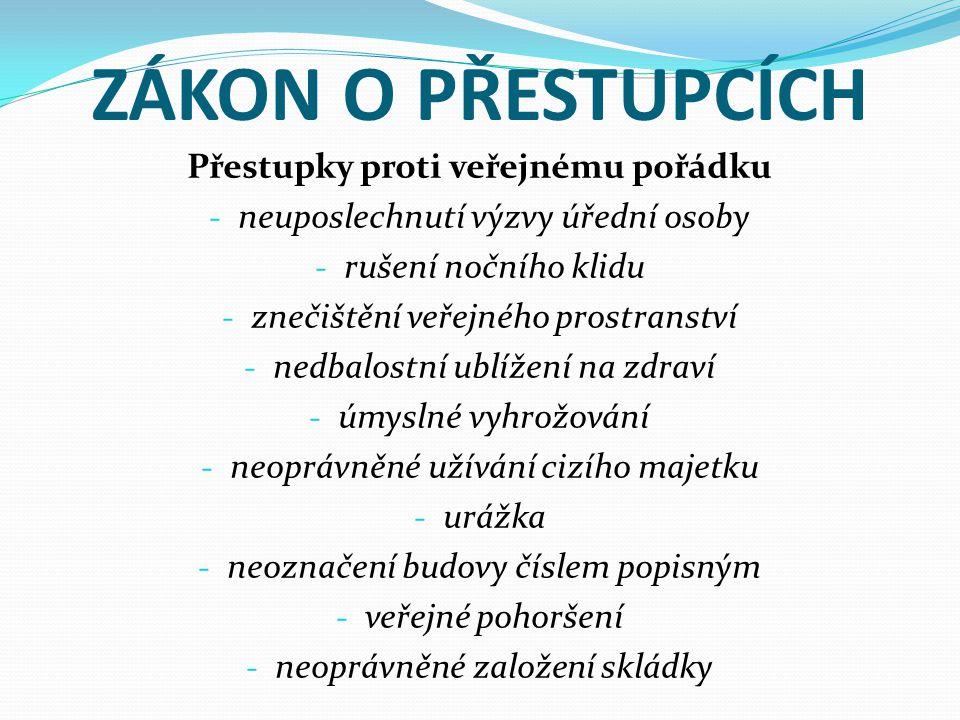 ZÁKON O PŘESTUPCÍCH Přestupky proti veřejnému pořádku - neuposlechnutí výzvy úřední osoby - rušení nočního klidu - znečištění veřejného prostranství -