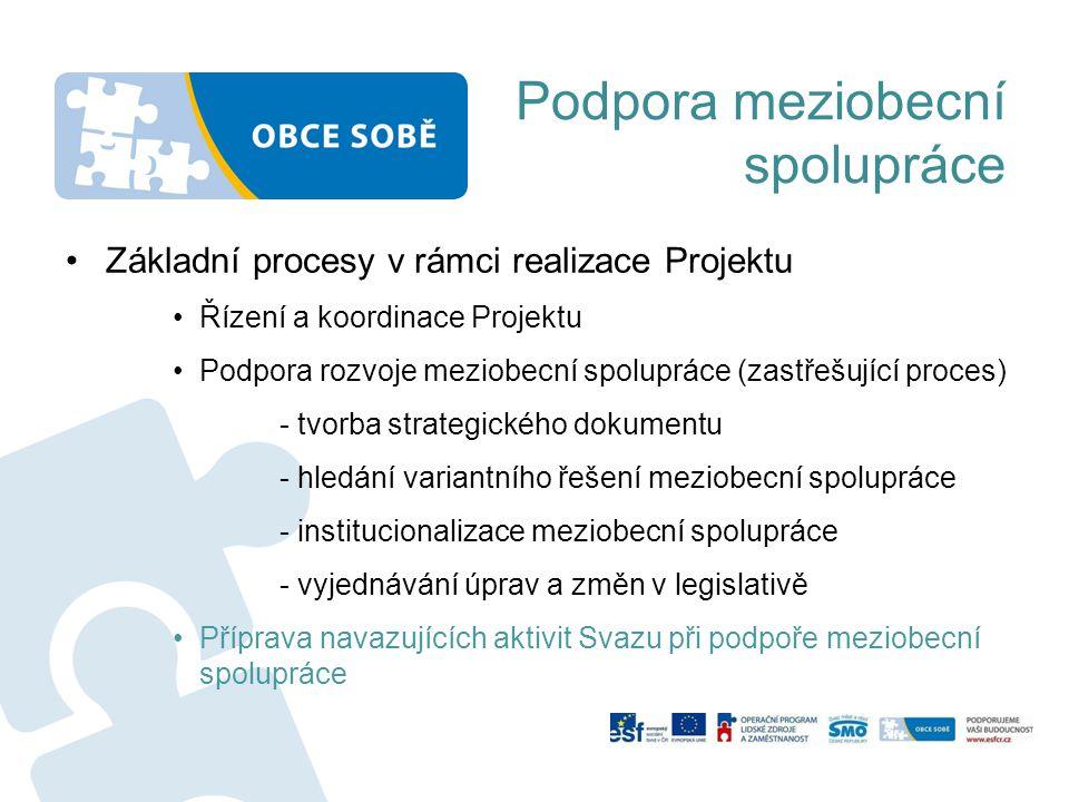 Podpora meziobecní spolupráce Základní procesy v rámci realizace Projektu Řízení a koordinace Projektu Podpora rozvoje meziobecní spolupráce (zastřešující proces) - tvorba strategického dokumentu - hledání variantního řešení meziobecní spolupráce - institucionalizace meziobecní spolupráce - vyjednávání úprav a změn v legislativě Příprava navazujících aktivit Svazu při podpoře meziobecní spolupráce