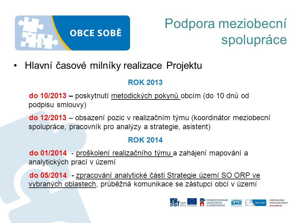 Podpora meziobecní spolupráce ROK 2013 do 10/2013 – poskytnutí metodických pokynů obcím (do 10 dnů od podpisu smlouvy) do 12/2013 – obsazení pozic v r