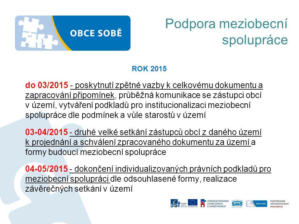 ROK 2015 do 03/2015 - poskytnutí zpětné vazby k celkovému dokumentu a zapracování připomínek, průběžná komunikace se zástupci obcí v území, vytváření