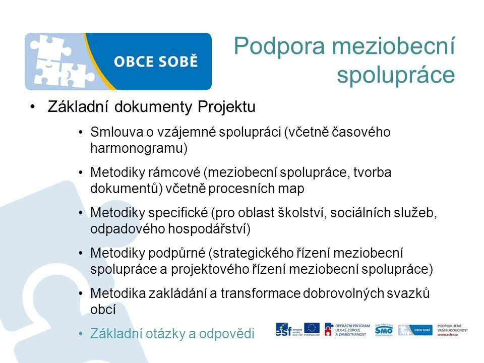 Základní dokumenty Projektu Smlouva o vzájemné spolupráci (včetně časového harmonogramu) Metodiky rámcové (meziobecní spolupráce, tvorba dokumentů) včetně procesních map Metodiky specifické (pro oblast školství, sociálních služeb, odpadového hospodářství) Metodiky podpůrné (strategického řízení meziobecní spolupráce a projektového řízení meziobecní spolupráce) Metodika zakládání a transformace dobrovolných svazků obcí Základní otázky a odpovědi