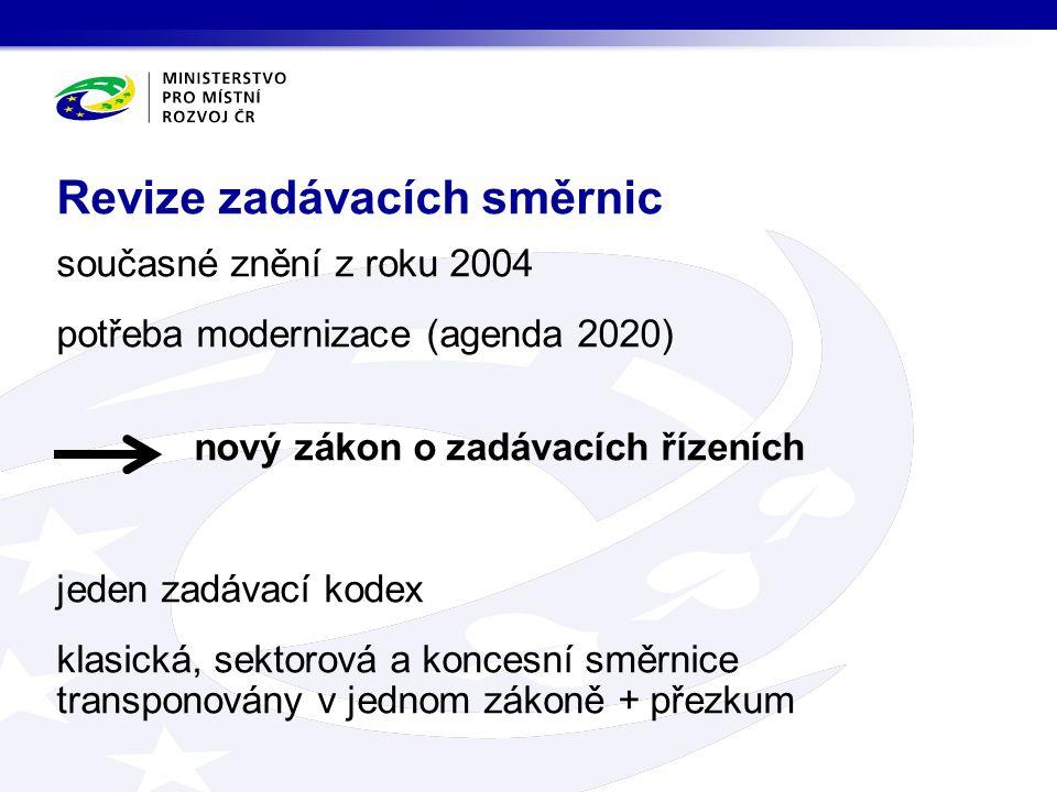 současné znění z roku 2004 potřeba modernizace (agenda 2020) nový zákon o zadávacích řízeních jeden zadávací kodex klasická, sektorová a koncesní směr