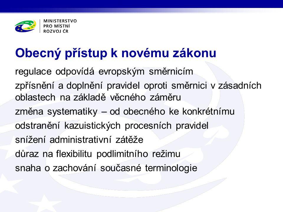 regulace odpovídá evropským směrnicím zpřísnění a doplnění pravidel oproti směrnici v zásadních oblastech na základě věcného záměru změna systematiky