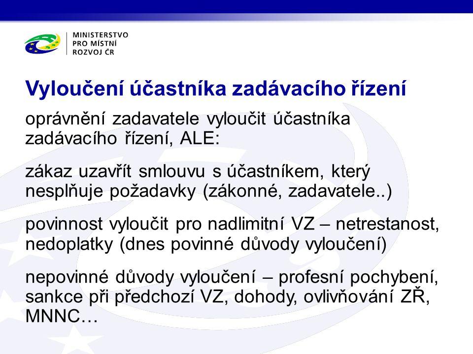 oprávnění zadavatele vyloučit účastníka zadávacího řízení, ALE: zákaz uzavřít smlouvu s účastníkem, který nesplňuje požadavky (zákonné, zadavatele..)