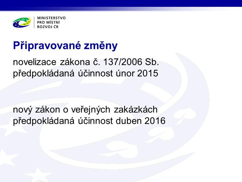 novelizace zákona č. 137/2006 Sb. předpokládaná účinnost únor 2015 nový zákon o veřejných zakázkách předpokládaná účinnost duben 2016 Připravované změ