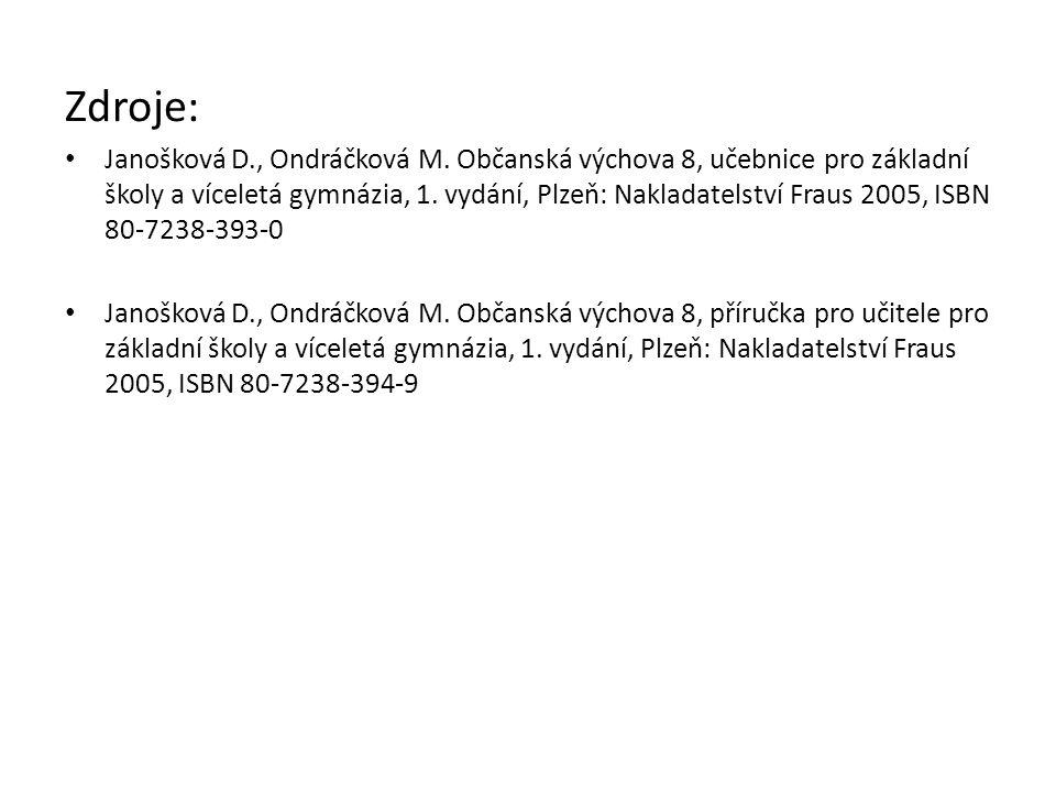Zdroje: Janošková D., Ondráčková M. Občanská výchova 8, učebnice pro základní školy a víceletá gymnázia, 1. vydání, Plzeň: Nakladatelství Fraus 2005,