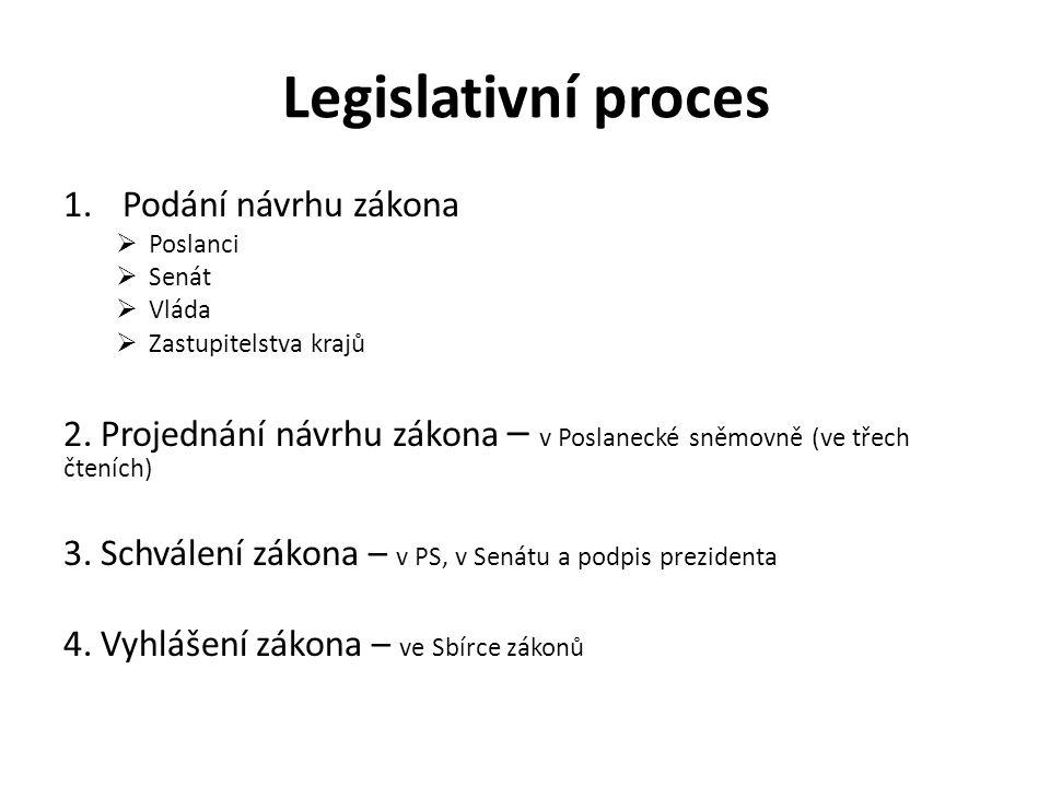 Legislativní proces 1.Podání návrhu zákona  Poslanci  Senát  Vláda  Zastupitelstva krajů 2. Projednání návrhu zákona – v Poslanecké sněmovně (ve t
