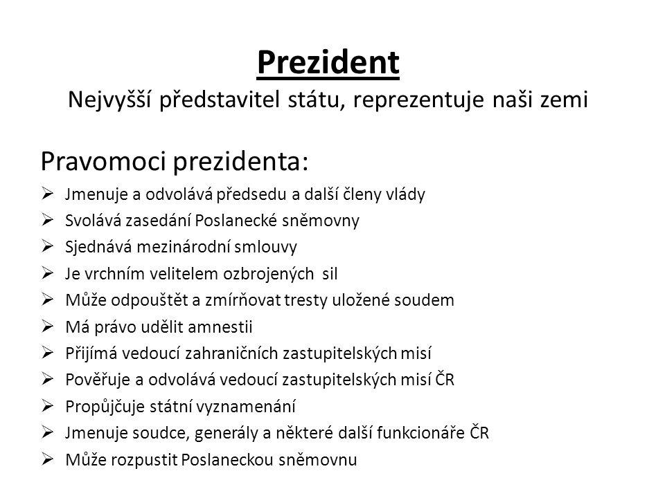 Prezident Nejvyšší představitel státu, reprezentuje naši zemi Pravomoci prezidenta:  Jmenuje a odvolává předsedu a další členy vlády  Svolává zasedá