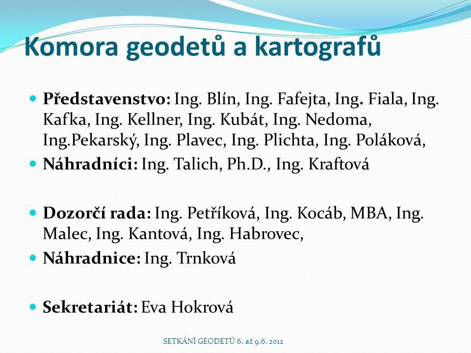 Komora geodetů a kartografů Představenstvo: Ing. Blín, Ing.