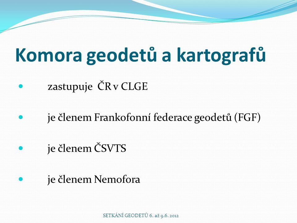 Komora geodetů a kartografů zastupuje ČR v CLGE je členem Frankofonní federace geodetů (FGF) je členem ČSVTS je členem Nemofora SETKÁNÍ GEODETŮ 6.