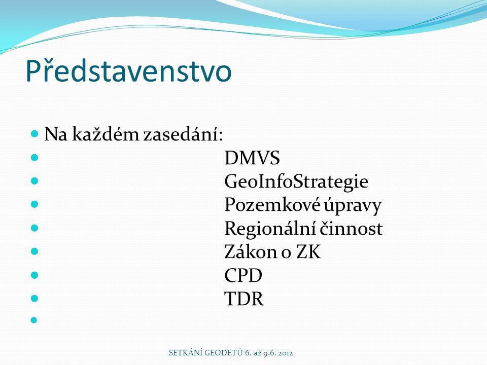 Představenstvo Na každém zasedání: DMVS GeoInfoStrategie Pozemkové úpravy Regionální činnost Zákon o ZK CPD TDR SETKÁNÍ GEODETŮ 6.
