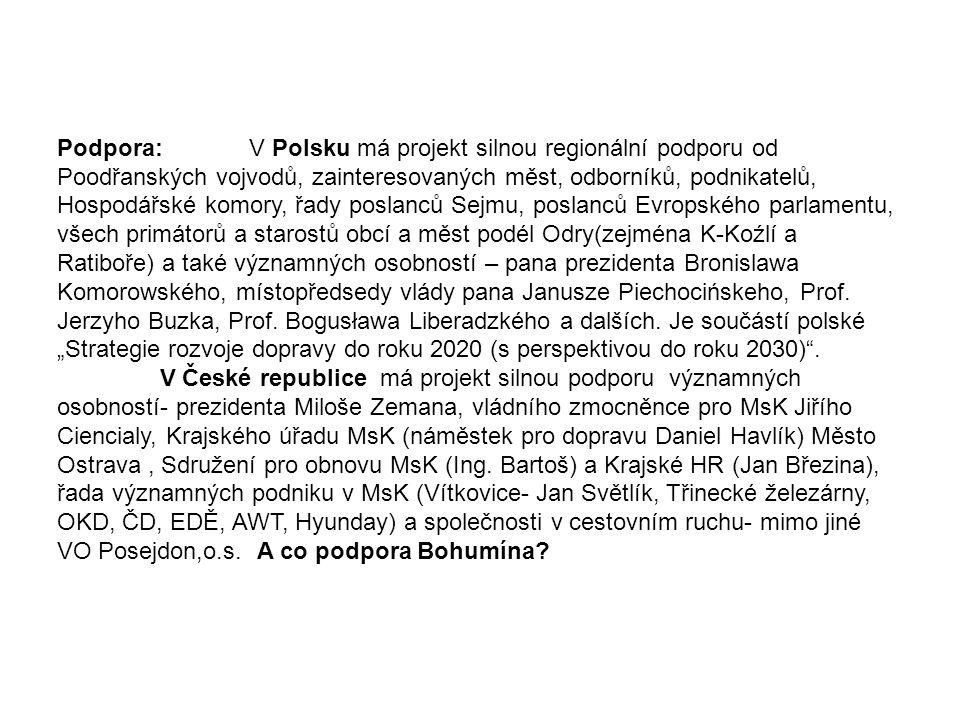 Podpora:V Polsku má projekt silnou regionální podporu od Poodřanských vojvodů, zainteresovaných měst, odborníků, podnikatelů, Hospodářské komory, řady
